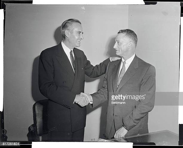 Col Arthur H Levitt of Brooklyn president of the New York City Board of education is greeted at Democratic Campaign Headquarters by Averal Harriman...