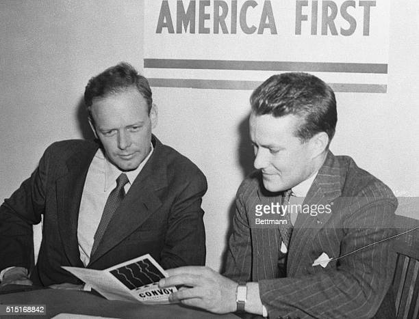 Col Charles A Lindbergh with R Douglas Stuart Jr National Director when the flyer enrolled in Chicago as a member of the America First Committee