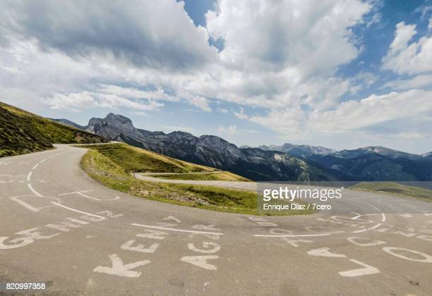 col d'aubisque, france. - hairpin curve stock photos and pictures