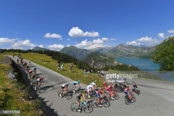 Col Du Pré / Barrage De Roselend / Landscape / Peloton / Lake / Mountains / Snow / during the 105th Tour de France 2018 Stage 11 a 1085km stage from...