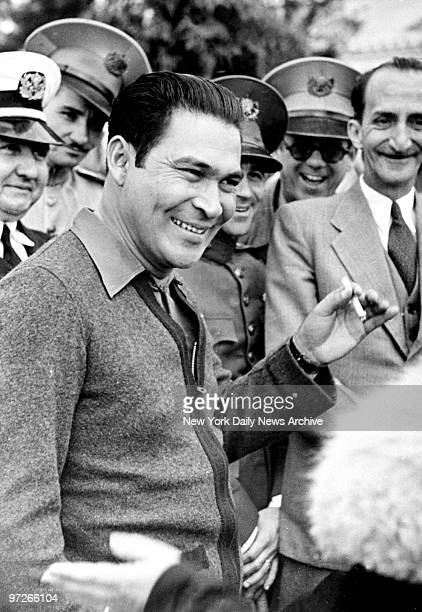 Col Fulgencio Batista Cuban military leader as he confers with members of his staff at Camp Columbia Cuba