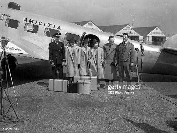 Col George R Hutchinson Family The Flying Hutchinsons at Roosevelt Field Long Island NY Image dated March 23 1939 Childrens adventure radio series...