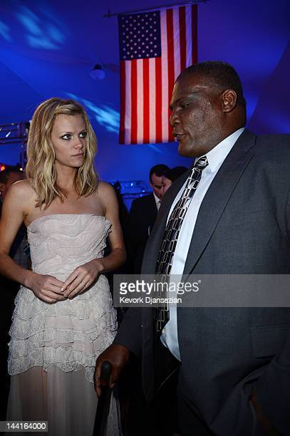 Col Gregory D Gadson and actress Brooklyn Decker attend the after party for the Los Angeles premiere of Battleship at Nokia Theatre LA Live on May 10...