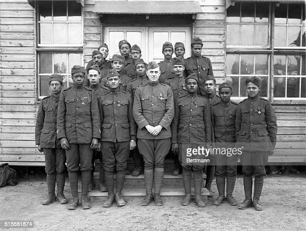Col Hayward and group of the boys of the 369th Regiment winners of the Croix De Guerre World War I Undated photo
