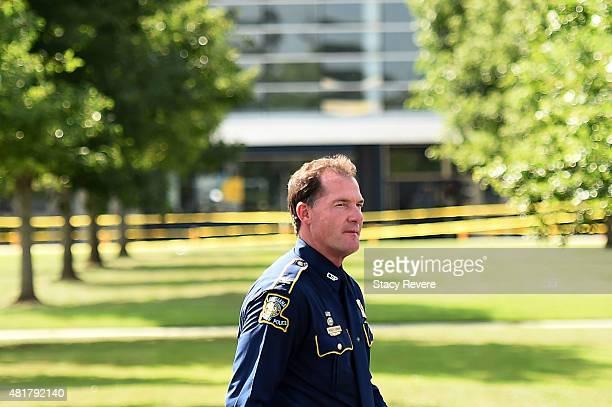 Col Mike Edmondson Superintendent of the Louisiana State Police walks to the podium to speak with the media on July 24 2015 in Lafayette Louisiana...