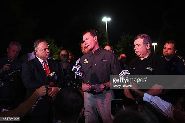 Col Mike Edmondson Superintendent of the Louisiana State Police speaks with the media outside of Johnston Street Java near the Grand Theatre on July...