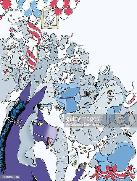 4 col x 10 in / 196x254 mm / 667x864 pixels Amy Raudenbush color illustration of a donkey disguised as an elephant and crashing a Republican victory...