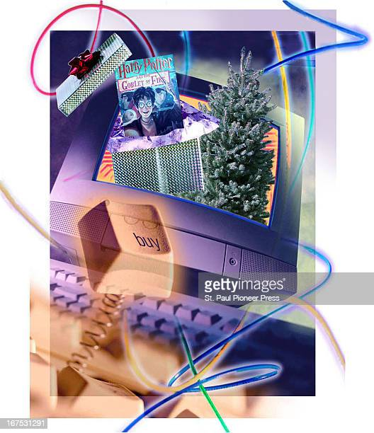 4 col x 10 in / 220x254 mm / 749x864 pixels Staff color illustration shows computer monitor with a presents and a Christmas tree jumping out of the...