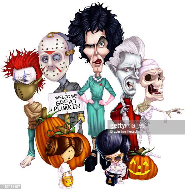 Col x 10 in / 246x254 mm / 837x864 pixels Ron Borresen color illustration of a group of Halloween revelers, including Hannibal Lecter, Jason, Dr....