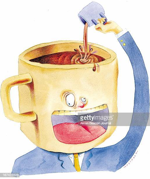 4 col x 1025 in / 220x260 mm / 749x886 pixels Kathy Hagedorn color illustration of wired caffeineaddicted man pouring more coffee into his mugshaped...