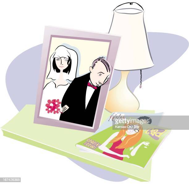 5 col x 105 inches/276x267 mm/940x907 pixels Hector Casanova color illustration of a wedding photo on table with groom peering out of the frame at a...