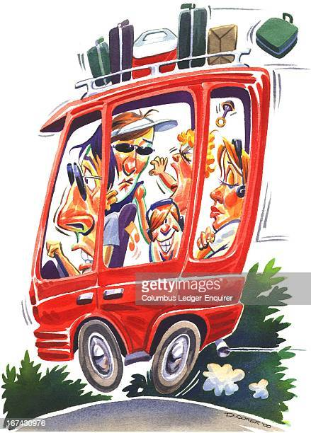 Col x 10.75 in / 196x273 mm / 667x929 pixels Don Coker color illustration of a family packed into a minivan going on a summer vacation; dad is...