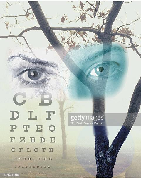 4 col x 11 inches/220x279 mm/749x950 pixels Ellen Simonson color illustration of aging eyes blurred tree branches and an eye chart For use with...