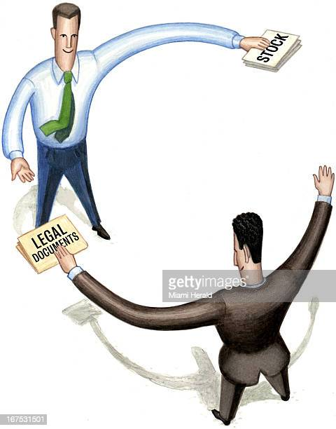 4 col x 11 inches/220x279 mm/749x950 pixels Ray Bubel color illustration of two businessmen facing each other and exchanging stock for legal...