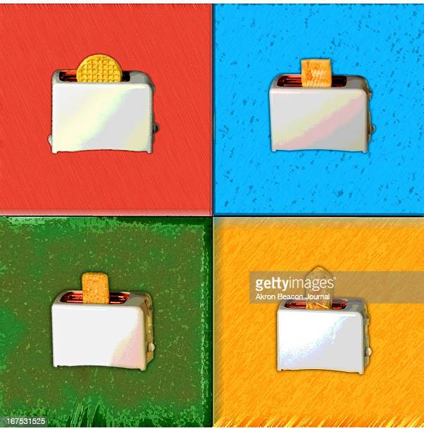 5 col x 11 inches/276x279 mm/940x950 pixels Ed Suba Jr color illustration of four toasters with heat and eat foods Aunt Jemima lowfat waffles...