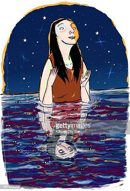 4 col x 1125 in / 196x286 mm / 667x972 pixels Hector Casanova color illustration of a blissful woman emerging from dark water to a clear starry night...