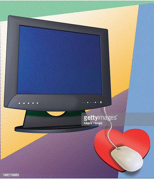 5 col x 1125 in / 246x286 mm / 837x972 pixels Philip Brooker color illustration of a computer monitor with a mouse on a heartshaped pad