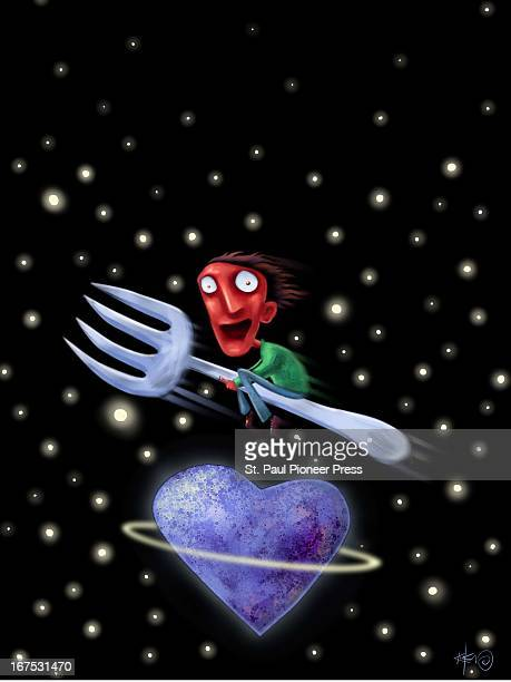 4 col x 115 in / 220x292 mm / 749x994 pixels pixels Kirk Lyttle color illustration of wideeyed redfaced male flying on a fork around a heart shaped...
