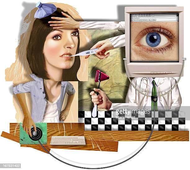 6 col x 1175/330 x 298mm Philip Brooker color illustration of woman receiving health care over the web she is treated with icepack thermometer etc by...