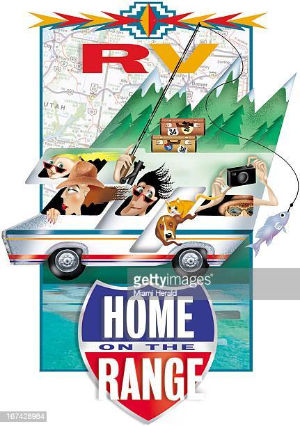 4 col x 1225 in / 220x311 mm / 749x1058 pixels Ana Lense Larrauri color illustration of a vacationing family in a motor home driving past mountains...