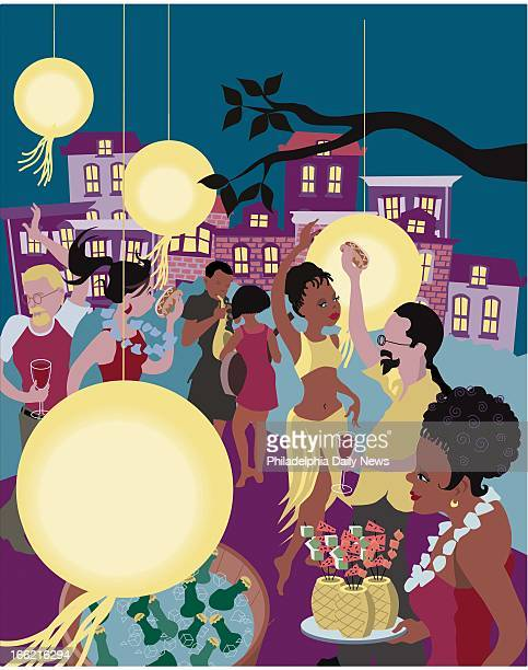 5 col x 1225 in / 246x311 mm / 837x1058 pixels Amy Raudenbush color illustration of swanky summer cocktail party on the cheap guests dance under...