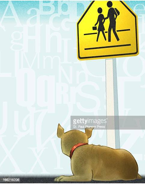 5 col x 1225 in / 246x311 mm / 837x1058 pixels Kirk Lyttle color illustration of a dog waiting by a school crossing sign