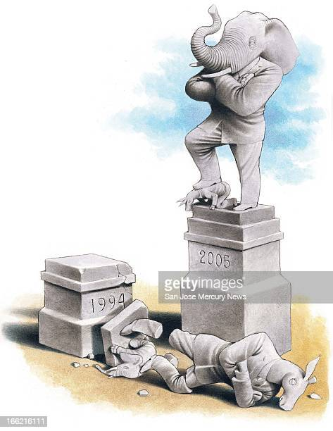 5 col x 125 in / 246x318 mm / 837x1080 pixels Doug Griswold color illustration of a Republican elephant statue crushing a Democratic donkey with its...