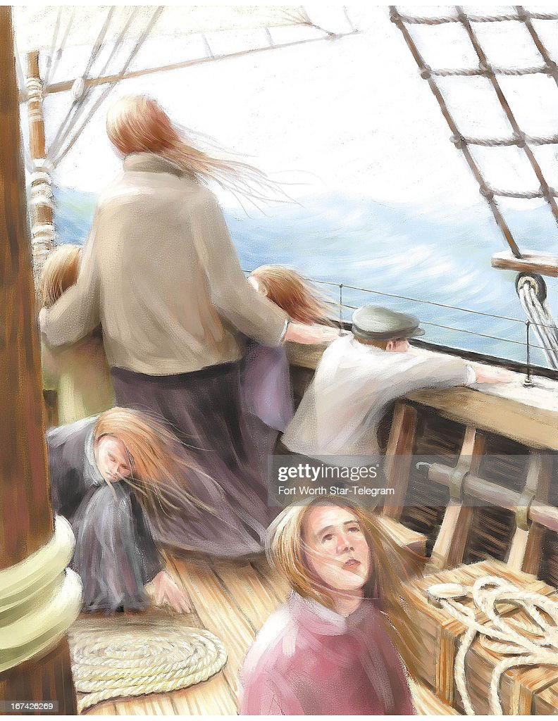 5 col x 12.5 in / 246x318 mm / 837x1080 pixels Mark Hoffer color illustration of a woman and five children looking out to the open sea while aboard a masted ship.