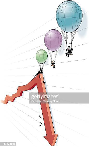 4 col x 1275 in / 196x324 mm / 667x1102 pixels Doug Griswold color illustration of economic survivors floating away on balloons to escape a fever...