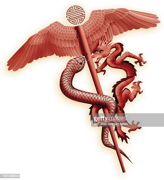 6 col x 1275 in / 295x324 mm / 1004x1102 pixels Pai color illustration of an Asianstyled caduceus with a dragon in place of one of the snakes