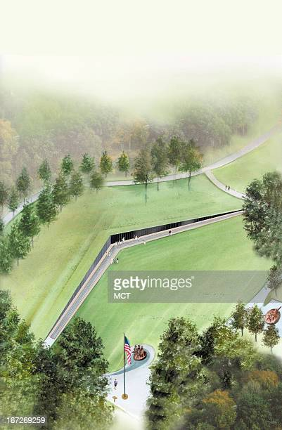 4 col x 13 in / 196x330 mm / 667x1123 pixels Lee Hulteng watercolor illustration of an aerial view of the Vietnam Veterans Memorial in Washington DC
