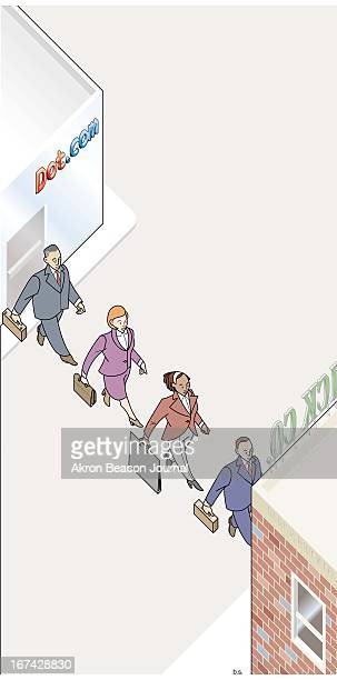 3 col x 13 inches/164x330 mm/558x1123 pixels Brian Shellito color illustration of businessmen and businesswomen filing out of a 'Dotcom' office for...