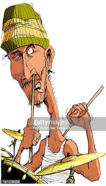 Col x 13.5 in / 196x343 mm / 667x1166 pixels Mark Hoffer color illustration of an unshaven, drooling drummer using his drumsticks for picking his...