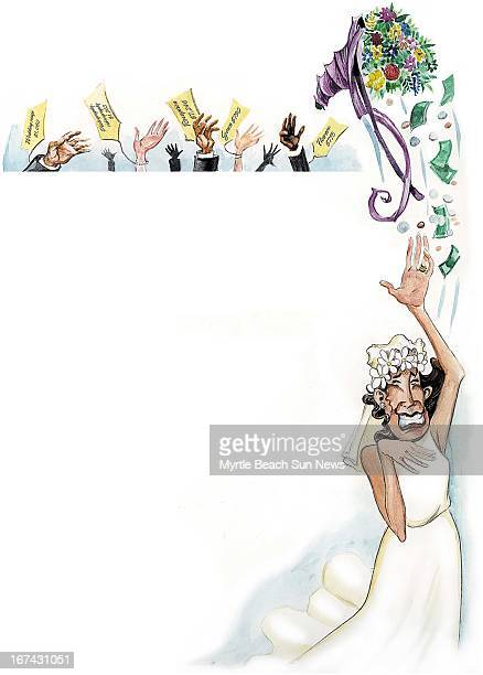 5 col x 135 in / 246x343 mm / 837x1166 pixels Jason Whitley color illustration of a blushing bride throwing her bouquet and money to the waiting...