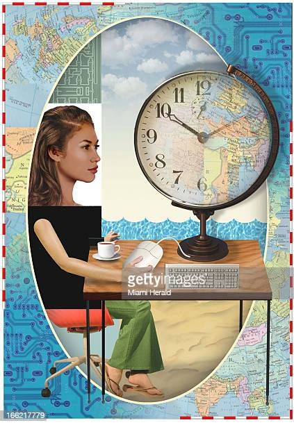 5 col x 14 in / 246x356 mm / 837x1210 pixels Philip Brooker color illustration of planning travel online woman sits at desk with coffee computer...