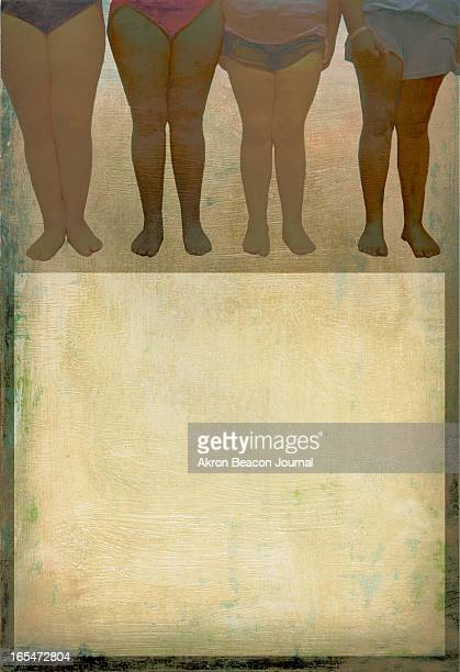 5 col x 141 in / 246x358 mm / 837x1218 pixels Kathy Hagedorn color illustration of a group women's obese legs set over a lighttoned box for text