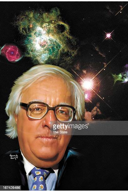 5 col x 145 in / 246x368 mm / 837x1253 pixels Steven A Long color illustration of author Ray Bradbury against a background of galaxies nebulas and...