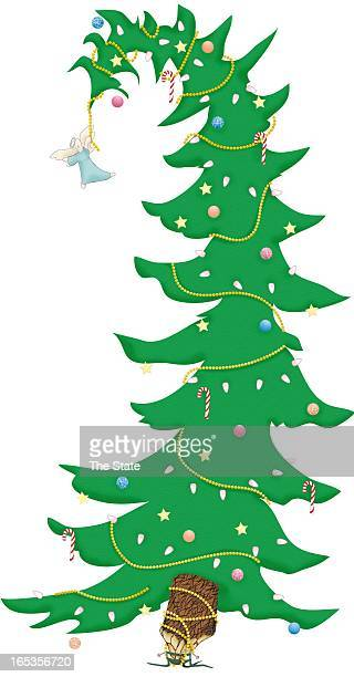 4 col x 1475 in / 196x375 mm / 667x1274 pixels Susan Ardis color illustration of an angel hanging from the tip of a Christmas tree to try to get it...