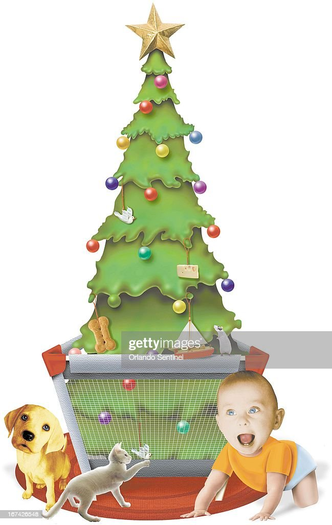 5 col x 15.25 in / 246x387 mm / 837x1318 pixels Anita J. Jones color photo illustration of a Christmas tree set in a playpen to protect it and keep it away from the dog, cat rat, and baby.