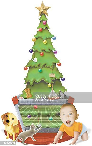 5 col x 1525 in / 246x387 mm / 837x1318 pixels Anita J Jones color photo illustration of a Christmas tree set in a playpen to protect it and keep it...