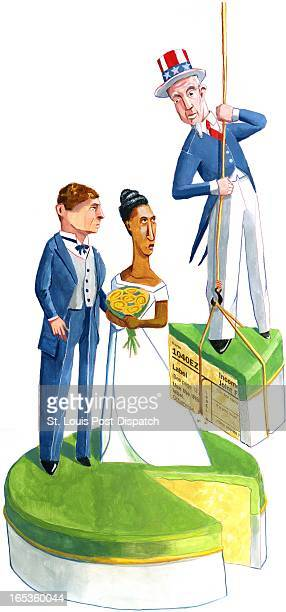 4 col x 165 in / 196x419 mm / 667x1426 pixels Brian Williamson color illustration of Uncle Sam taking a tax slice from a newlywed's wedding cake