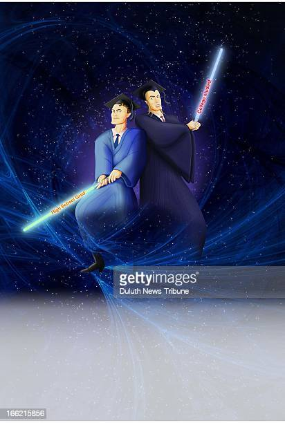 6 col x 1725 in / 295x438 mm / 1004x1490 pixels Gary Meader color illustration of lightsaber wielding college and high school graduates