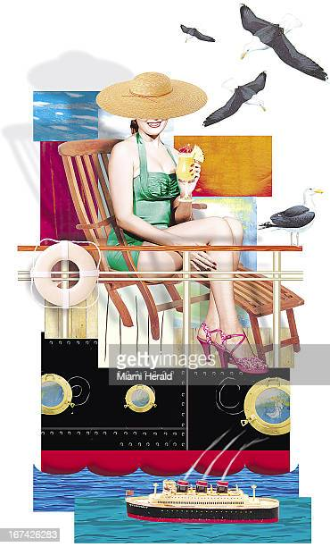 6 col x 1925 in / 295x489 mm / 1004x1663 pixels Philip Brooker color illustration of a woman dressed in bathing suit sun hat and heels holding a...