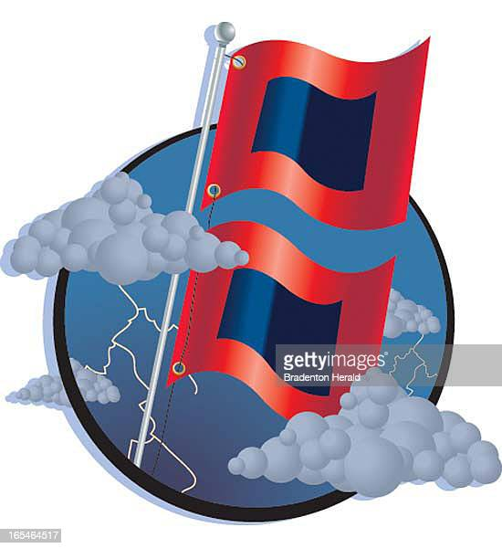 1 col x 2 in / 47x51 mm / 160x173 pixels Ron Borresen color illustration of hurricane warning flags and storm clouds