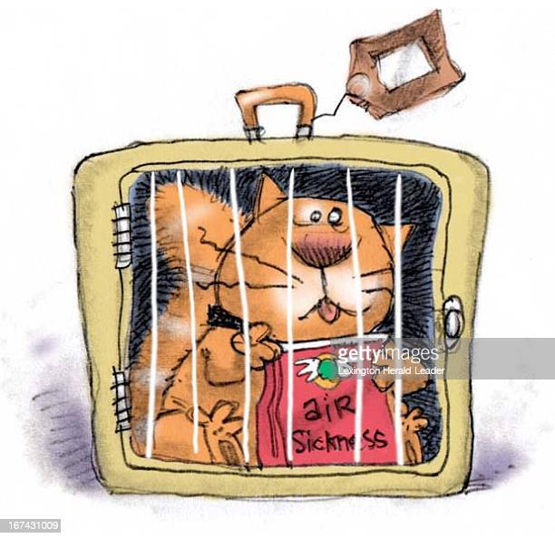 Col x 2 in / 52x51 mm / 177x173 pixels Chris Ware color illustration of a cat holding an air sickness bag while locked inside a pet carrier.