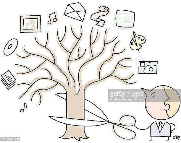 2 col x 3 in / 96x76 mm / 327x259 pixels David Steinlicht color illustration of businessman cutting a tree representing the Internet with a large...
