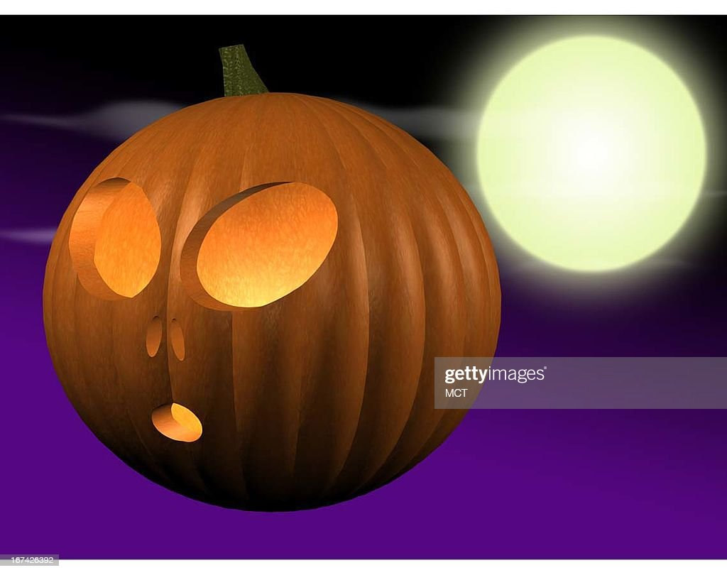 2 col x 3 in / 96x76 mm / 327x259 pixels Kurt Strazdins color illustration of a glowing jack-o'-lantern with round alien eyes and a full moon.