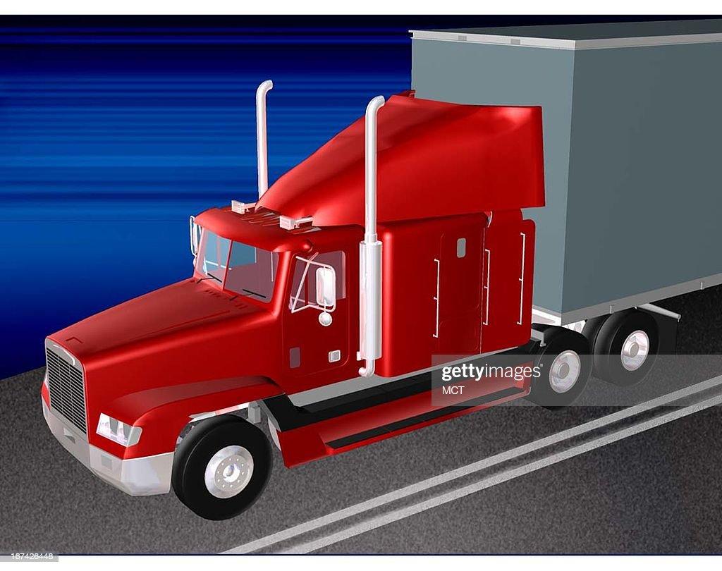 2 col x 3 in / 96x76 mm / 327x259 pixels Kurt Strazdins color illustration of a big rig truck.