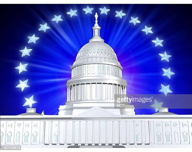 2 col x 3 in / 96x76 mm / 327x259 pixels Kurt Strazdins color illustration of the US Capitol building with stars in the background