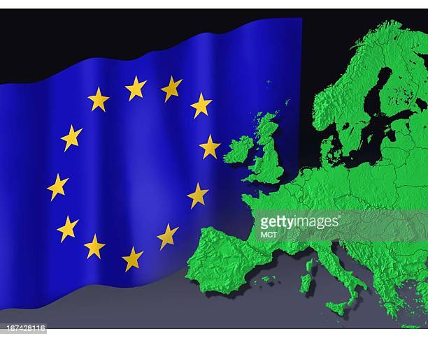 2 col x 3 in / 96x76 mm / 327x259 pixels Kurt Strazdins color illustration of the flag of the European Union and the Council of Europe with map of...